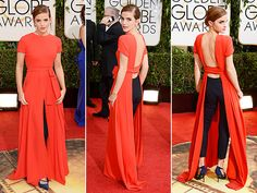 """The BEST """"dress"""" of the night. My vote to Emma Watson at the 2014 Golden Globes. Just amazing. Sexy, sophisticated, and sleek. <3"""