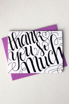 "Send a lovely thank you card to your family or friend with this card that features my hand drawn, original lettering. ♥ DETAILS - s i z e : (1) card measuring approx. 4.25"" x 5.5"" (when folded) - prin"