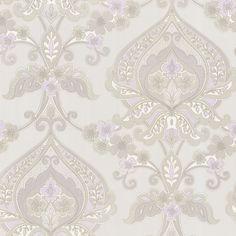 "Brewster 450-67365-SAM 8""x 10"" Sample of 450-67365 Lavender Paisley Damask Wallpaper Sample Sample"