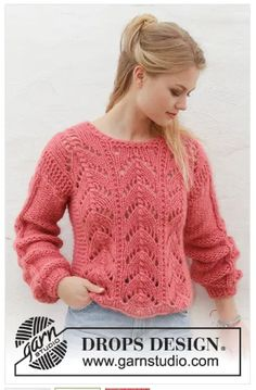 Knitted jumper with lace pattern. Sizes S – XXXL. The piece is worked in 2 stran… Knitted jumper with lace pattern. Sizes S – XXXL. The piece is worked in 2 strands DROPS Air or you can use 2 strands DROPS Brushed Alpaca Silk. Jumper Patterns, Sweater Knitting Patterns, Lace Patterns, Lace Knitting, Knit Crochet, Drops Patterns, Knitting Sweaters, Drops Design