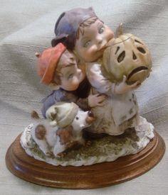 Vintage Italian G Armani Gullivers World Children&Dog w/Pumpkin Figurine Signed  #GArmani