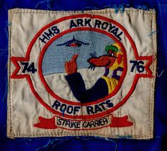 HMS Ark Royal 1976 Aircraft Handlers Roof Rats Badge Roof Rats, Hms Ark Royal, Promotional Flyers, Badge, Aircraft, Arms, Tapestry, Life, Hanging Tapestry