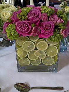 centre de table citrons et roses