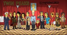 The Cast Of Twin Peaks Drawn In The Style Of The Simpsons