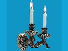 Classic Twin Tudor Candle Light (EL163D) - Lighting. Over 10,000 similar dolls house miniature products available from www.thedollshousestore.co.uk