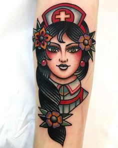 Search inspiration for an Old School tattoo. Girly Tattoos, Weird Tattoos, Pin Up Tattoos, Dream Tattoos, Body Art Tattoos, Sleeve Tattoos, Tattoos For Guys, Nurse Tattoos, Traditional Tattoo Nurse
