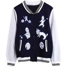 Navy Contrast Cartoon Print Bomber Jacket ($30) ❤ liked on Polyvore featuring outerwear, jackets, navy jacket, collared bomber jacket, blue jackets, navy bomber jacket and navy blue bomber jacket