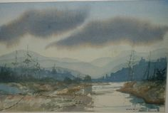 Indiana Hoosier Salon Artist Jean Black Watercolor Landscape River in The Mist