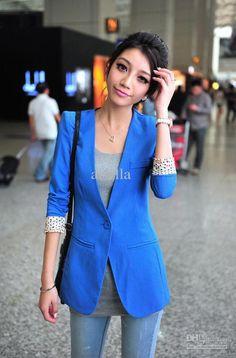 Wholesale price of fashion candy color ol suit coat polk women jacket blazer  one button ... fb9a23c108
