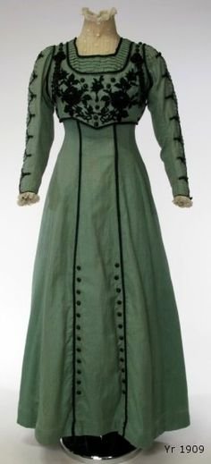 1909 deep sage green dress with black piping details  Haha, this is perfect