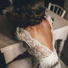 Wedding Bride Bridal Dress Lace Low Back V Pearl Buttons Braid Hair Updo Inspiration Inspire Folk Alternative Boho Bohemian Bride Wedding Wishes, Wedding Bells, Wedding Gowns, Wedding Dress Backless, Lace Dress, Backless Lace Wedding Dress, White Dress, Hair Wedding, Perfect Wedding