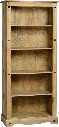 Corona Tall 4 Shelf Bookcase with a Distressed Wax Finish Pine Bookcase, 4 Shelf Bookcase, Living Room Bookcase, Large Bookcase, Bookshelves, Pine Furniture, Furniture Direct, Living Room Furniture, Furniture Ideas