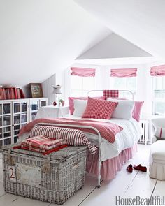 Red and White Bedroom - House Beautiful Pinterest Favorite Pins April 24, 2014 - House Beautiful