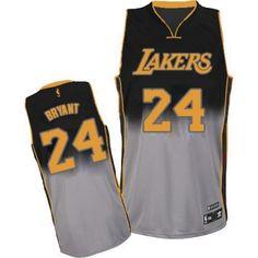 Kobe Bryant Authentic In Black Grey Adidas NBA Los Angeles Lakers Fadeaway  Fashion  24 b1070dc81c8