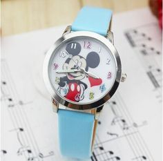 New Fashion Delicate transparent hollow dial leather strap wristwatches quartz watch women rhinestone dress watches mickey