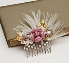 Bridal Hair Comb - Purple Gold Bridal Hair Accessories, Lavender Wedding Head Piece Vintage Hair Comb Shabby Chic Elegant Collage. $99.00, via Etsy.