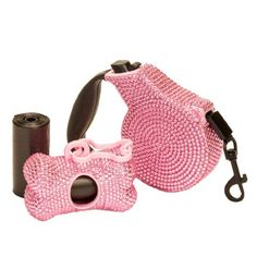 COMBO PACK Pink Crystal Case Rhinestone Retractable Dog Leash and Waste Bag Dispenser Holder with Bags - http://www.thepuppy.org/combo-pack-pink-crystal-case-rhinestone-retractable-dog-leash-and-waste-bag-dispenser-holder-with-bags/