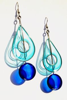 Stainless Steel Dangle Earrings In Cobalt Blue and Light Blue - Handmade Jewelry.