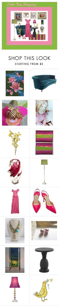 """Labor Day Shopping"" by anna-ragland ❤ liked on Polyvore featuring NOVICA, Avon, Wyld Home, Hostess, Universal Lighting and Decor, Manolo Blahnik, Tommy Bahama, contemporary and vintage"