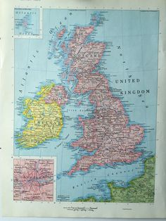 188 best world atlas images on pinterest maps world maps and vintage 1967 rand mcnally world atlas map page europe map on one side and the british isles united kingdom map on the other side gumiabroncs Choice Image