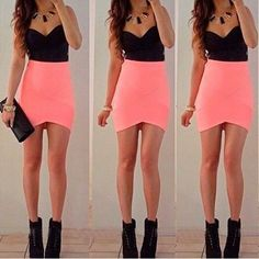 Dress: black crop top pink skirt little black party salmon pink tight. Backless Maxi Dresses, Maxi Dress With Sleeves, Sexy Dresses, Casual Dresses, Mini Dresses, Sheath Dress, Strapless Dress, Bodycon Dress, Sleeveless Dresses