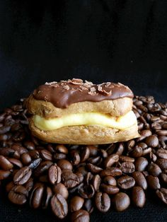 mini tiramisu eclairs; choux pastry is coffee-flavored;  mascarpone cheese to the pastry cream; lastly, a touch of espresso powder to the chocolate glaze to intensify the coffee taste