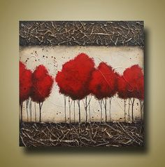 Red Tees Original Painting  Heavy Textures  Pop by BrittsFineArt