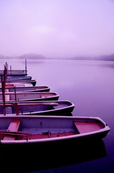 Purple boats on a purple sea with a purple view for purple you and me