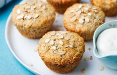 Healthy vegan oat muffins, apple and banana cakes with sour cream on a white plate Mini Muffins, Apple Banana Muffins, Banana Oats, Kefir, Vegan Egg Substitute Baking, Egg Replacement In Baking, Dairy Free Muffins, Sour Cream Cake, Eating Eggs