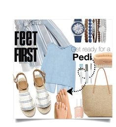 """Feet First"" by amistric ❤ liked on Polyvore featuring Zimmermann, Target, Steve J & Yoni P, Jessica Carlyle, Urban Spa, Essie, sandals, pedi and opentoesandals"