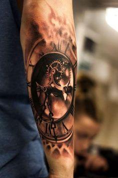 Tattoos body art clock tattoo sleeve meaning . 3d Tattoos For Men, Tattoos For Guys Badass, Great Tattoos, Beautiful Tattoos, Body Art Tattoos, Awesome Tattoos, Clock Tattoo Sleeve, Sleeve Tattoos, Tattoo Clock
