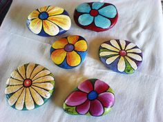 Simple painted petal flower garden stone rocks.