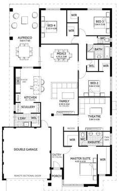 4 Bedroom House Plans, Family House Plans, Dream House Plans, House Floor Plans, Home Design Floor Plans, Plan Design, Floor Layout, Modern Farmhouse Plans, House Blueprints