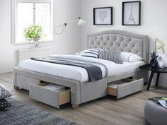 Features: Recommended mattress size: 160 x Bed Size: UK King - DE 150 x 200 cm Color: Grey Frame Material: Solid + Manufactured Wood Wood Speci Bedroom Furniture Design, Malm, Kitchen Cabinet Design, Bed Sizes, Dream Bedroom, Bed Frame, Home Interior Design, House Design, Grey