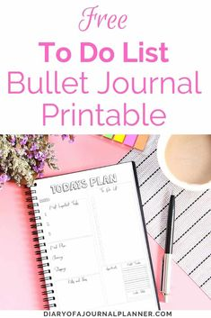 Get organized and productive with a Bullet Journal To Do List! Includes Free To Do List Printable. Creating A Bullet Journal, Bullet Journal For Beginners, Bullet Journal Hacks, Bullet Journal Printables, Bullet Journal How To Start A, Bullet Journals, To Do Lists Printable, Templates Printable Free, Printable Planner