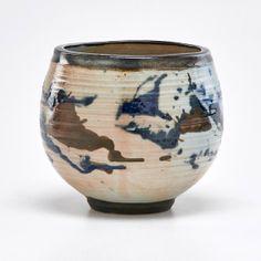 "Otto Heino Glazed stoneware tea bowl with abstract design, Ojai, CA, 20th c.; Signed; 5 1/4"" x 5"" dia."