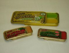 vintage slider tins with flavored gloss #1980's #flavoredlipgloss check www.tintecosmetics.com for similar vintage slider tins