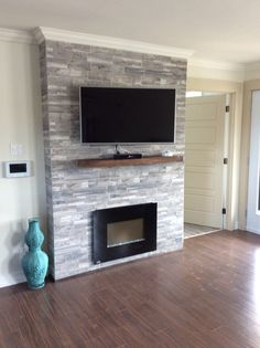 Find living room with cabinet only on this page room Grey Fireplace Tv Wall, Family Room Fireplace, Bedroom Fireplace, Fireplace Remodel, Fireplace Design, Fireplace Ideas, Chimney Decor, Living Room Tv, Home Projects