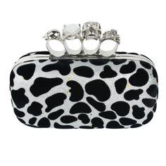 Womdee(TM) Modern Damen Schädel Ring Klassisch Leopard Punkte Unterarmtasche Handtasche-Weiß & Schwarz Mit Womdee Accessorie
