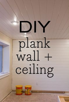 Kitchen Chronicles: Finished plank ceiling & wall - Home Decor Plank Ceiling, Plank Walls, Tongue And Groove, Just Dream, Home Upgrades, Basement Remodeling, Basement Ideas, Diy Home Improvement, Home Renovation