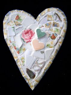 Shabby Pique Assiette Mosaic Heart of Vintage China by HeatherMBC, $25.00
