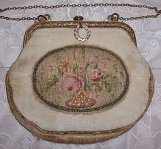 ANTIQUE Petit Point Silk Embroidery ROSES Basket Purse w/ Brass Frame