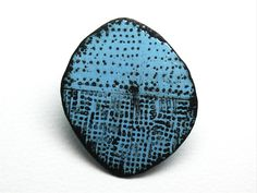 Fionna Hesketh (Main Image), Brooch. Blues vitreous enamel, copper & steel