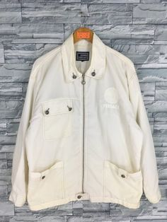 873d1067 GIANNI VERSACE Windbreaker Jacket Large Men/Women Versace Jeans Couture  Medusa White Made In Italy Versace Light Zipper Jacket Size L