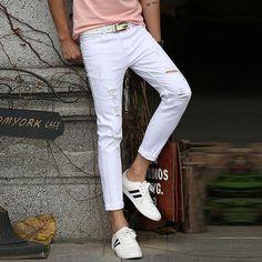 Denim Jeans Men, Jeans Pants, White Ripped Jeans, Denim Cotton, Ankle Length Pants, Stripes Fashion, Super Skinny, Jeans Style, Slim