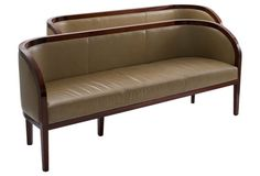 Contemporary Leather Sofas, Pair