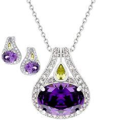 Jade Angel Fashion Silver Jewelry Three Purple Cubic Zircon Pendant