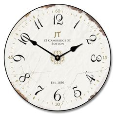 LOVE this Vintage White Clock a Best Seller at Clocks Around The World available in 5 sizes On Sale Now
