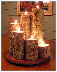 Made in the USA Tree Trunk Candles #candles # natural # light #home # wood  I can do this myself.