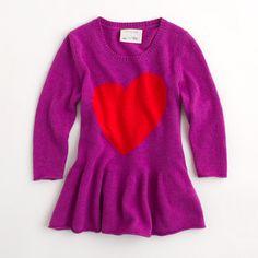 Factory girls' heart peplum sweater